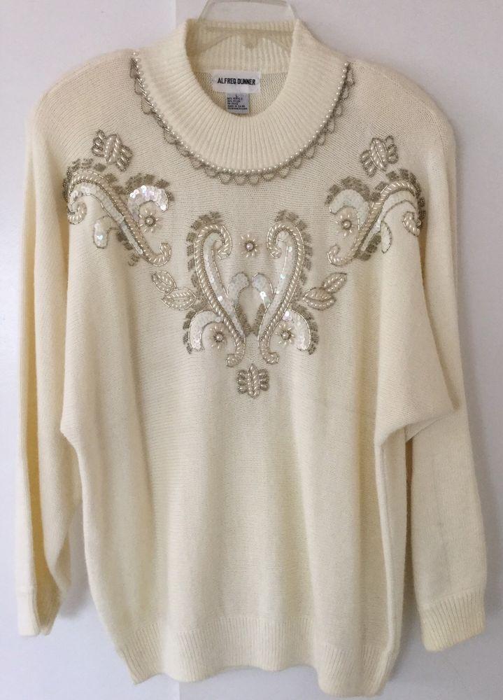 Xmas Ivory Iridescent Embellished Sweater Sequins Pearls Sparkles Bling Size L #AlfredDunner #Crewneck