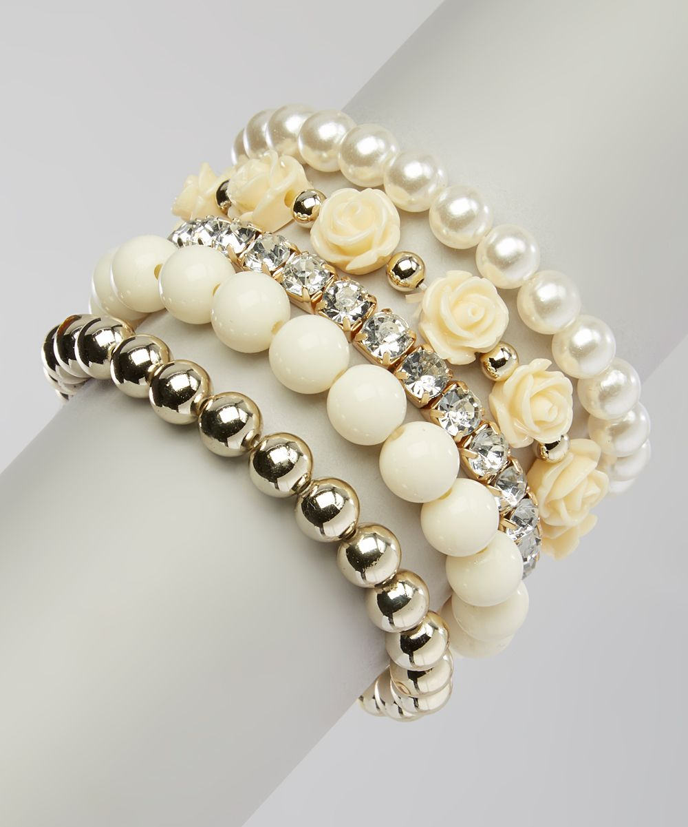 Bubbly bows white u gold faux pearl bracelet zulily collars
