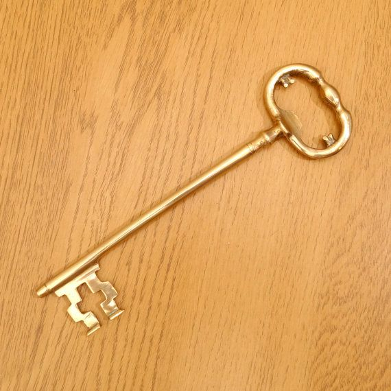 Vintage Large Brass Key Decorative / Wall Hanging / Bottle Opener ...