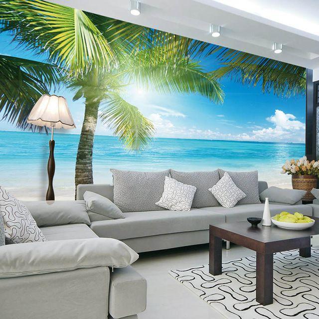 Coconut tree Beach Photo Wallpaper Custom 3D Wall Murals ...