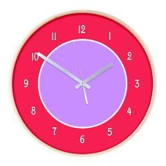 Pink and Purple Colorblock Wooden Wall Clock