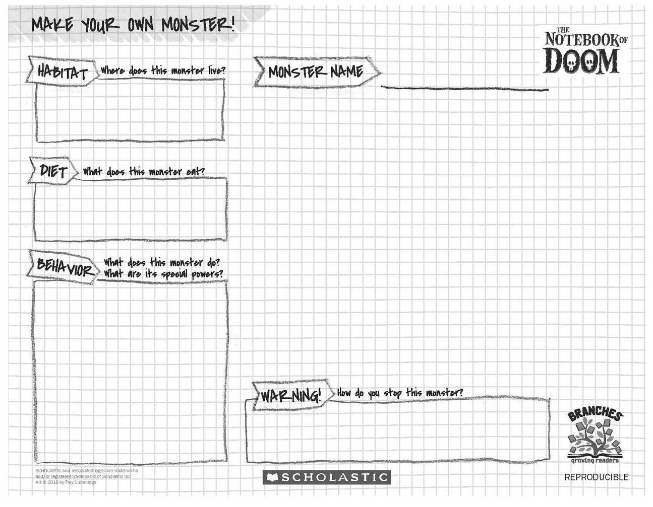 Make Your Own Monster With This The Notebook Of Doom Activity Sheet The Possibilities Are