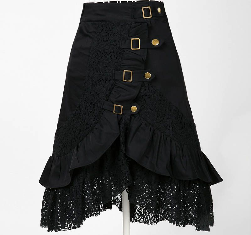 Wholesale clothing women party skirt lace black steampunk street ...