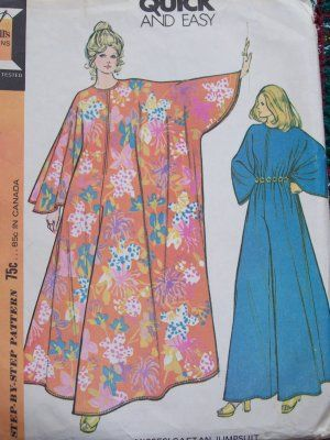 Uncut Vintage Caftan Jumpsuit Sewing Pattern 3479 Hostess Dress ...