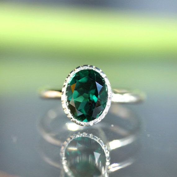 Green Quartz Sterling Silver Ring Gemstone RIng by louisagallery