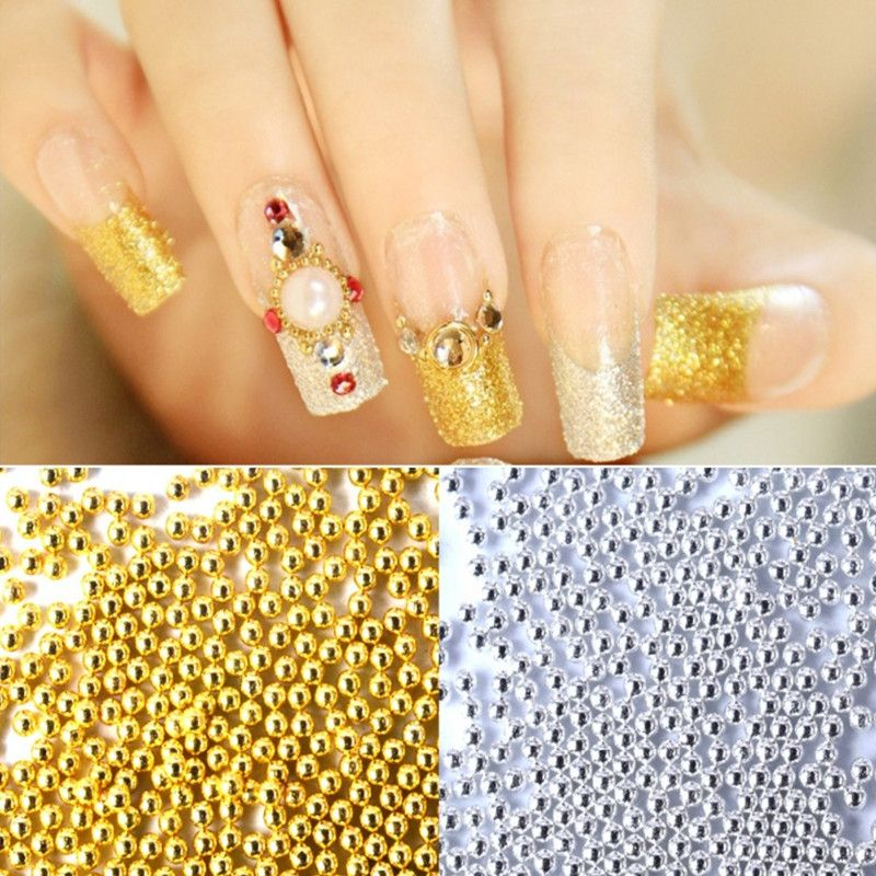 1mm Gold Silver Mini Beads Gel Nails Decoration 3D Nail Art Supplies ...