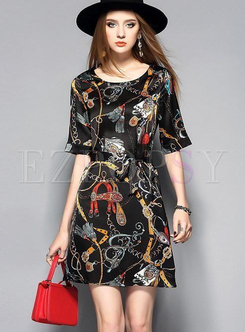 #BFCM #CyberMonday #Ezpopsy - #Ezpopsy Vintage Print Half Sleeve Skater  Dress -