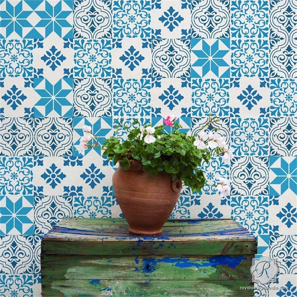cet ensemble de 4 pochoirs mediterraneens donnera a vos murs planchers dosserets de cuisine et vos contremarches un look exotique comme les tuiles qu on