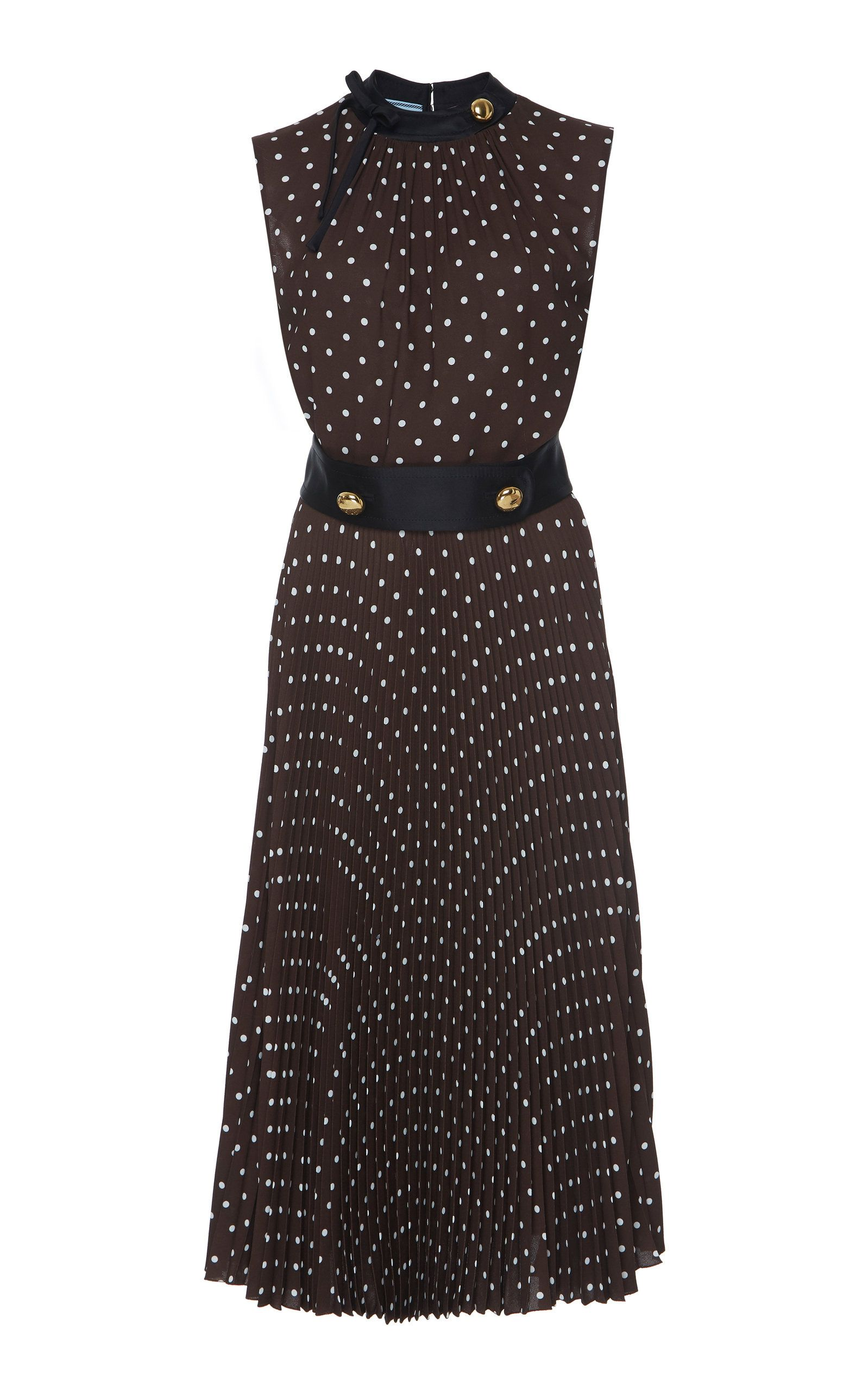 340665586e Button-Detailed Polka-Dot Crepe De Chine Midi Dress by PRADA Now Available  on