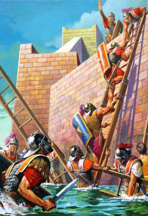 Scipio Scales The Walls Of Carthago Nova Original Art By