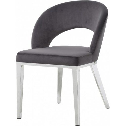 Grey Velvet Modern Rounded Back Accent Dining Chair Silver Legs