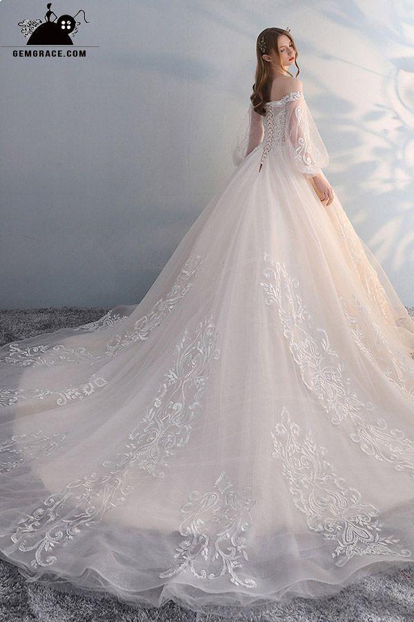 Robes de mariée avec manches magnifique épaule unique dentelle robe de bal unique …   – gelinlik