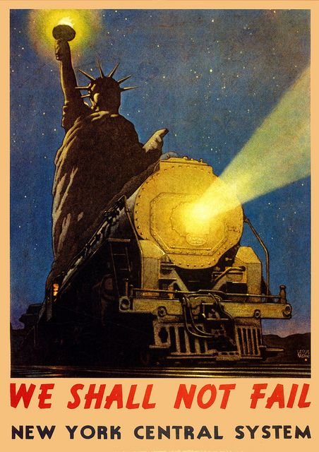 vintage ad poster for the new york metro urban railroad system featuring a train and the statue. Black Bedroom Furniture Sets. Home Design Ideas