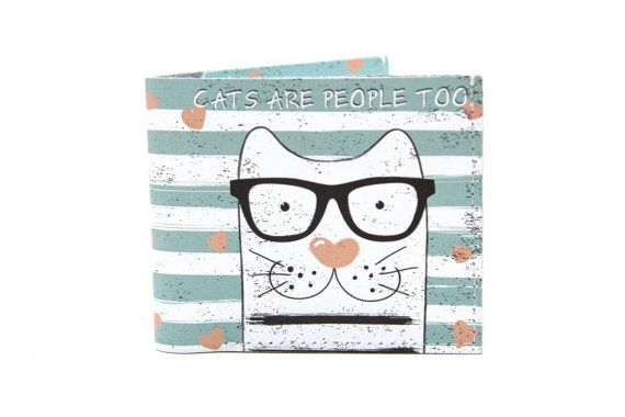 Hipster Cat Leather  Card Holder Card Holder Wallet Business Case Credit Card Case Leather Wallet Woman Minimal Wallet Personalized 301