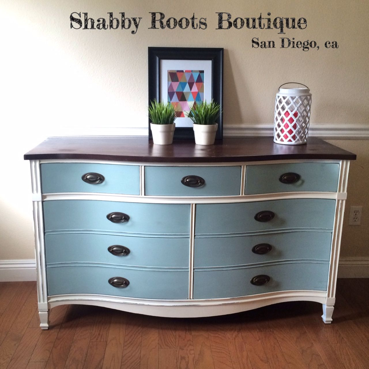 Best Blue And White Mahogany Dixie Dresser Shabby Chic 400 x 300