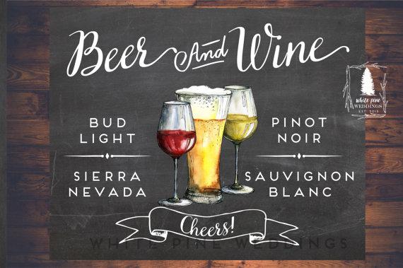Beer And Wine Sign Printable Bar Menu Sign Wedding Bar