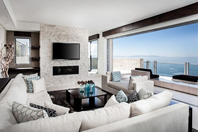 Attractive White Electric Fireplace Tv Stand Living Room Contemporary With Beach Beige  Sofa Built In Coffee Table