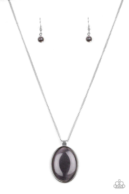 fbcdb9360 Paparazzi Pretty Poppin Silver Moonstone Catseye Pendant Necklace ...