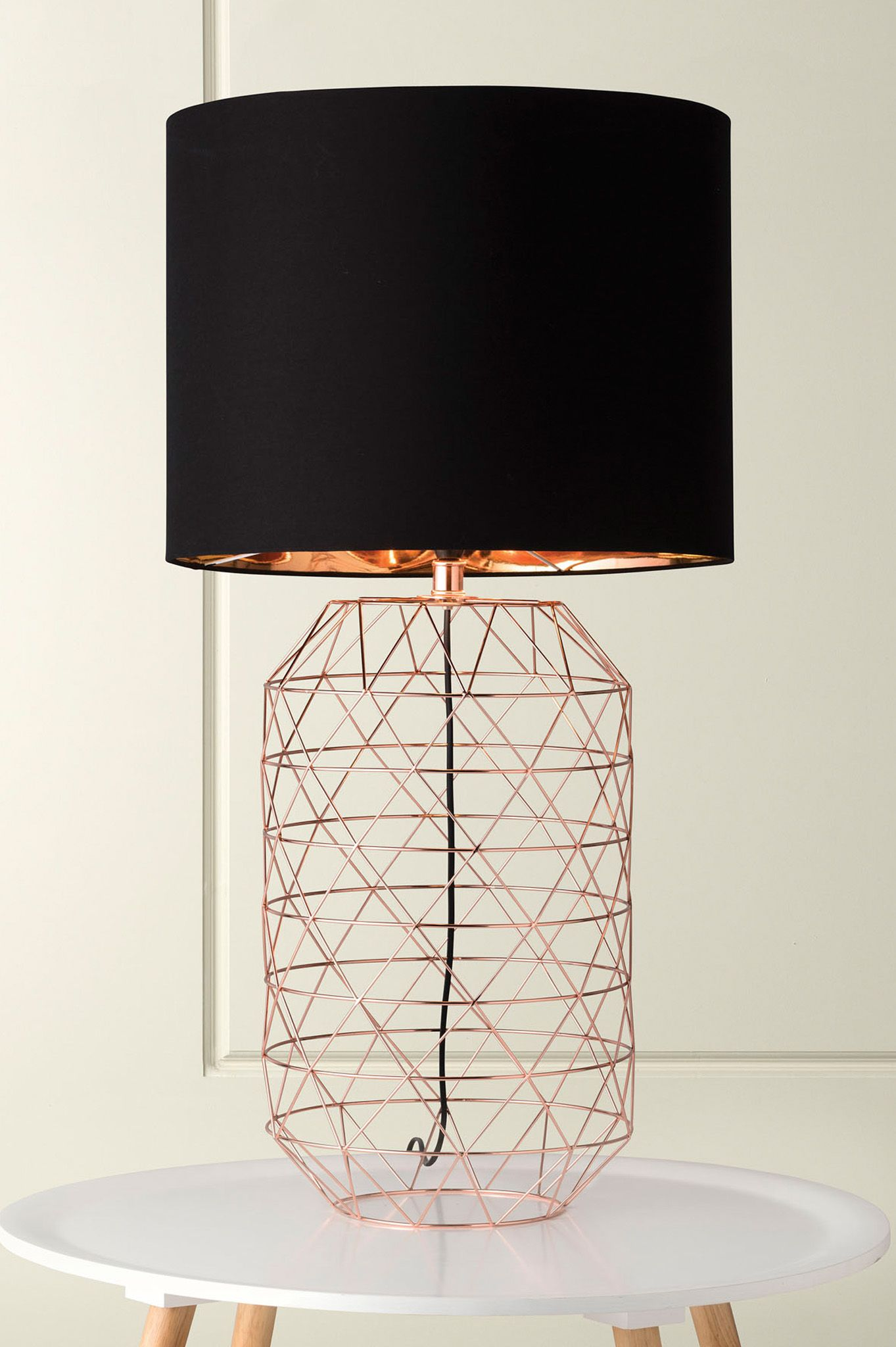 1131 evie rose copper wire geometric table lamp with black shade and 1131 evie rose copper wire geometric table lamp with black shade and copper foil lining keyboard keysfo Images