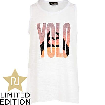 Girls white YOLO longline vest - t-shirts / vests / tops - girls