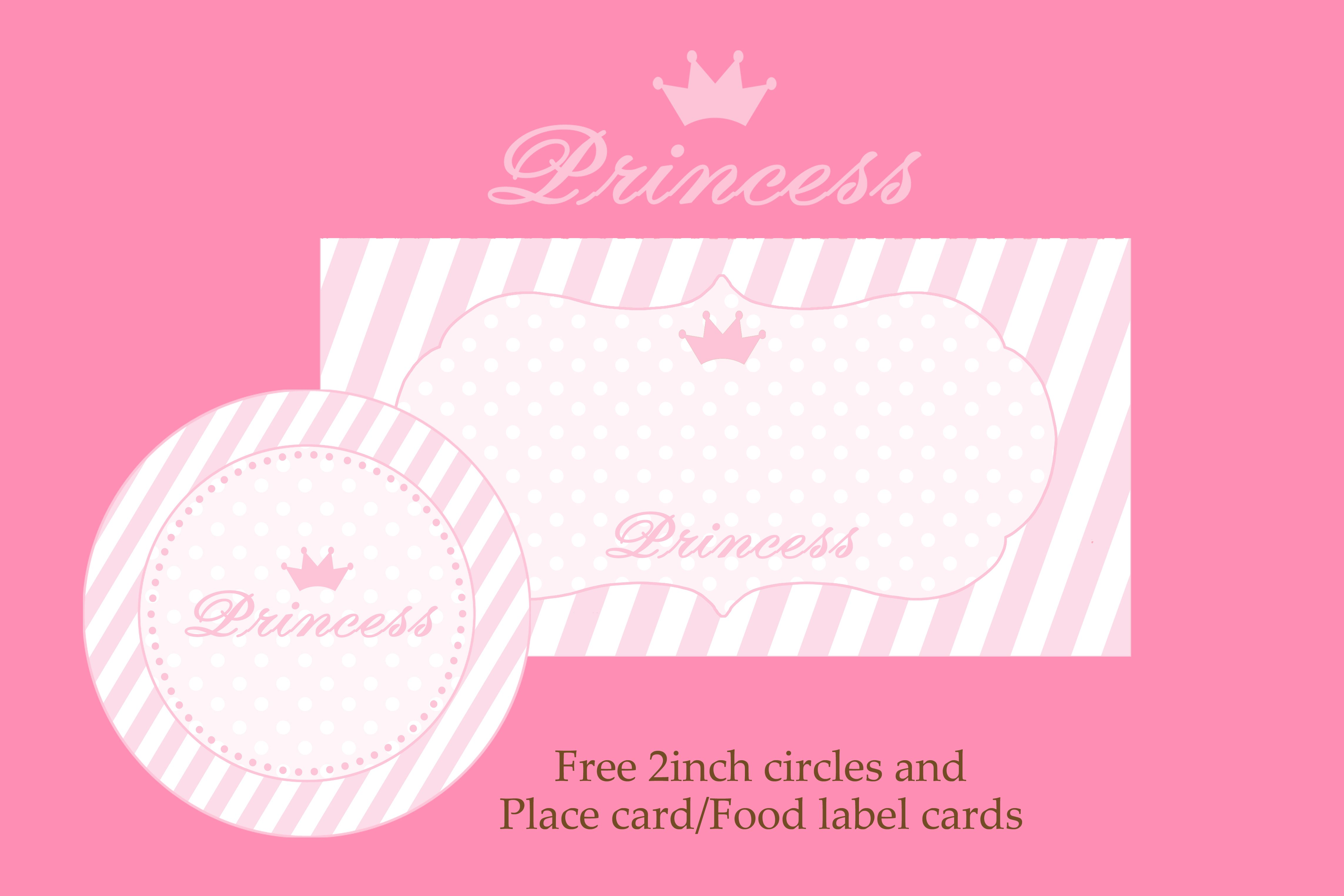Princess Party Free Download For 2 Inch Circles And Place Cards Food Label Cards