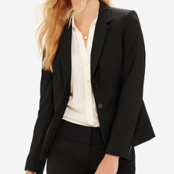 Black Blazer Suit Jacket Excellent Condition, two button, black dress blazer. Great for work, job interview or with jeans and a tee! Cotton shell Attention Jackets & Coats Blazers