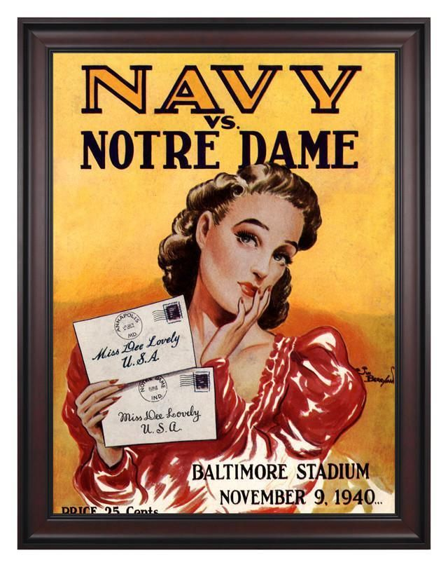 1940 Navy Midshipmen Vs Notre Dame Fighting Irish 30 X 40 Framed