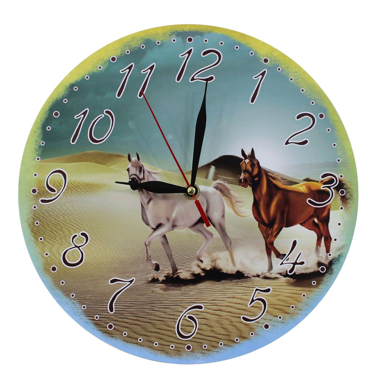 This listing is for one Home Decoration MDF Wild Horses in Desert Scene Wall Clock. Price £12.99