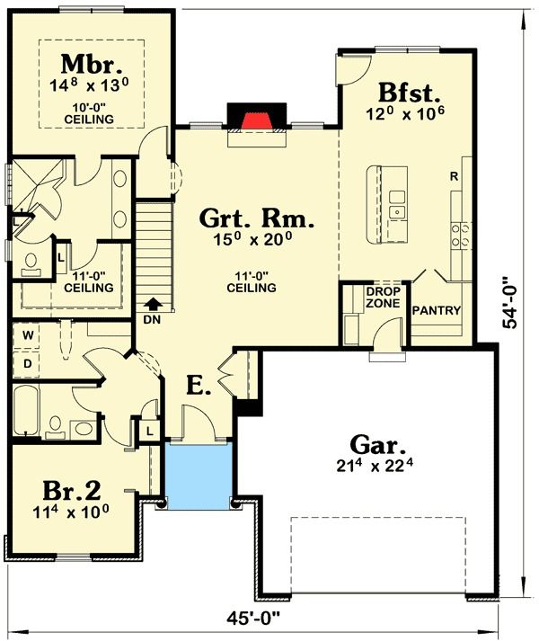 Plan 42362db Compact Two Bedroom Southern House Plan Southern House Plan House Plans Two Bedroom House