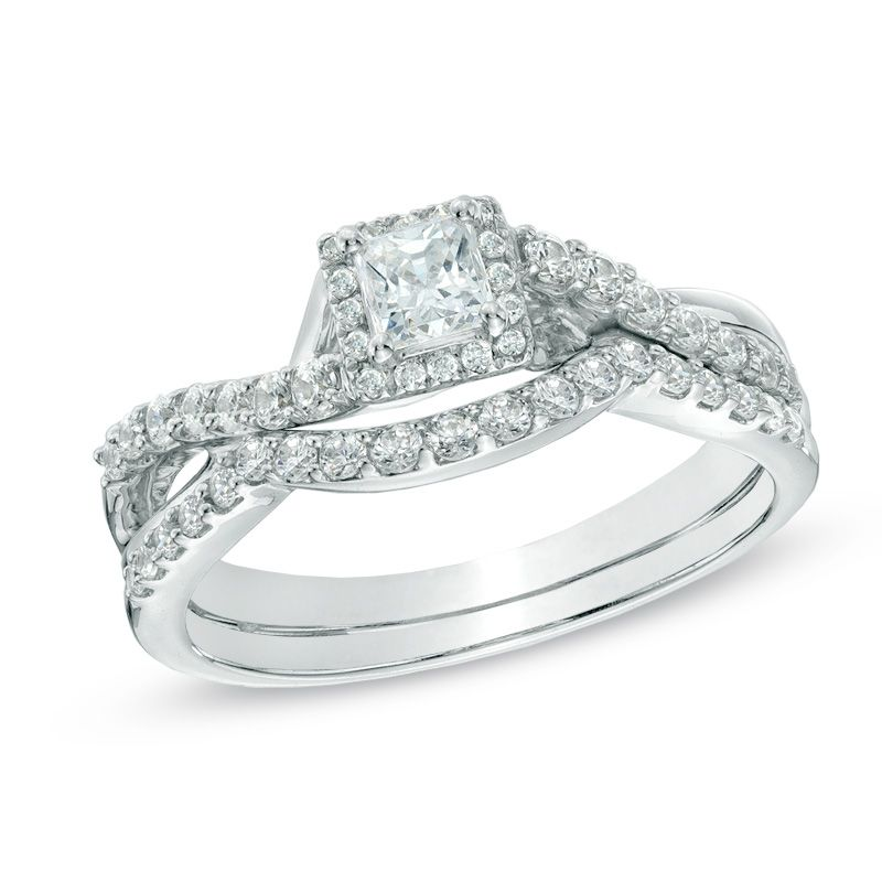 simple t w princess cut diamond frame twist shank bridal set in - Zales Wedding Ring Sets