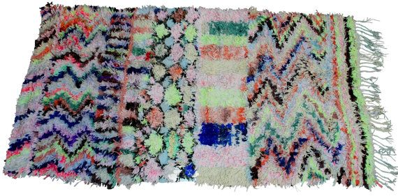 NEON Colors  Vintage handmade Moroccan Berber rag by BOHOGRAND