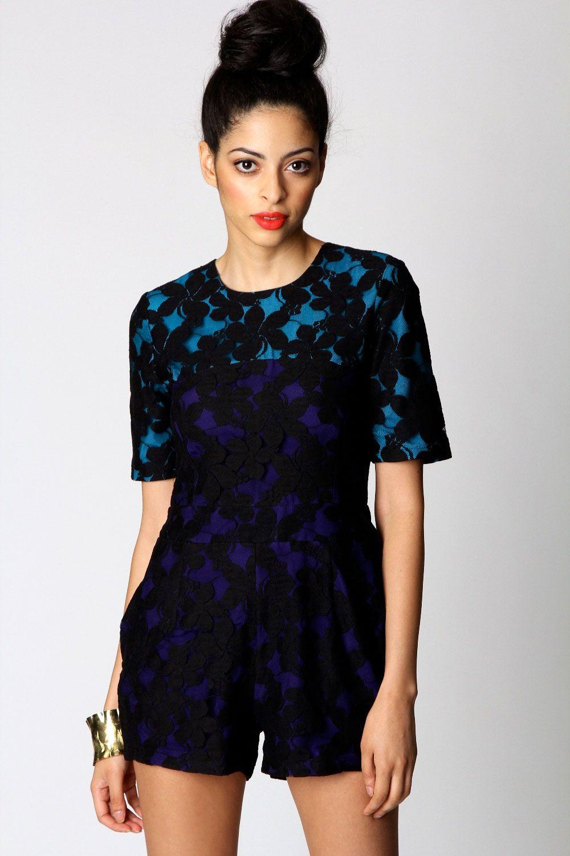 Aisha Lace Contrast Colour Playsuit
