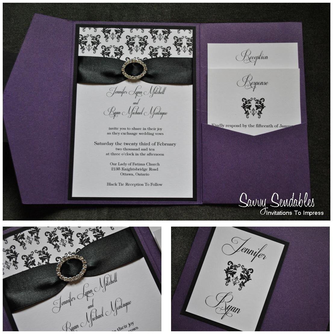 Purple, Black & White 5x7 Pocketfold Invitation with Satin Ribbon ...