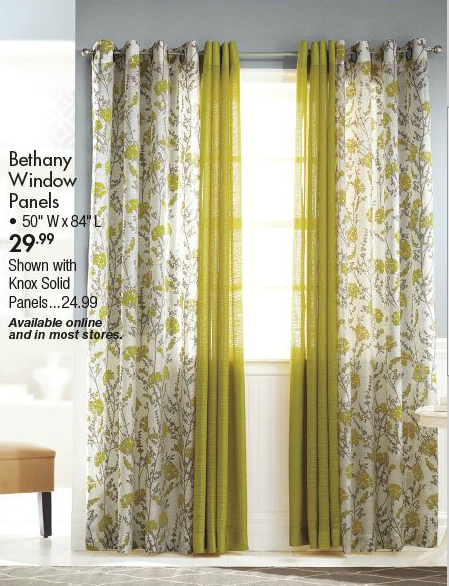 mixed solid and print panels curtains