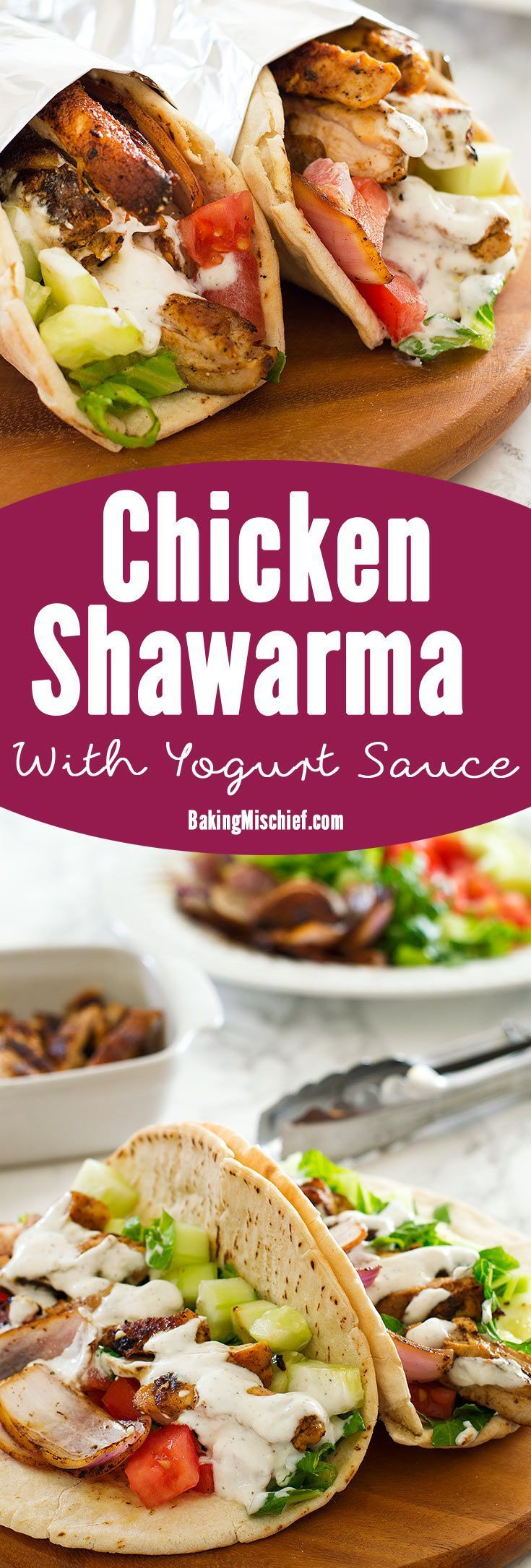 A simple chicken shawarma recipe with tender, smokey and flavorful chicken and a salty, garlic and lemon yogurt sauce served over crisp veggies and warm pita bread. Recipe includes nutritional information plus recipe for two, make-ahead, and freezer instructions.