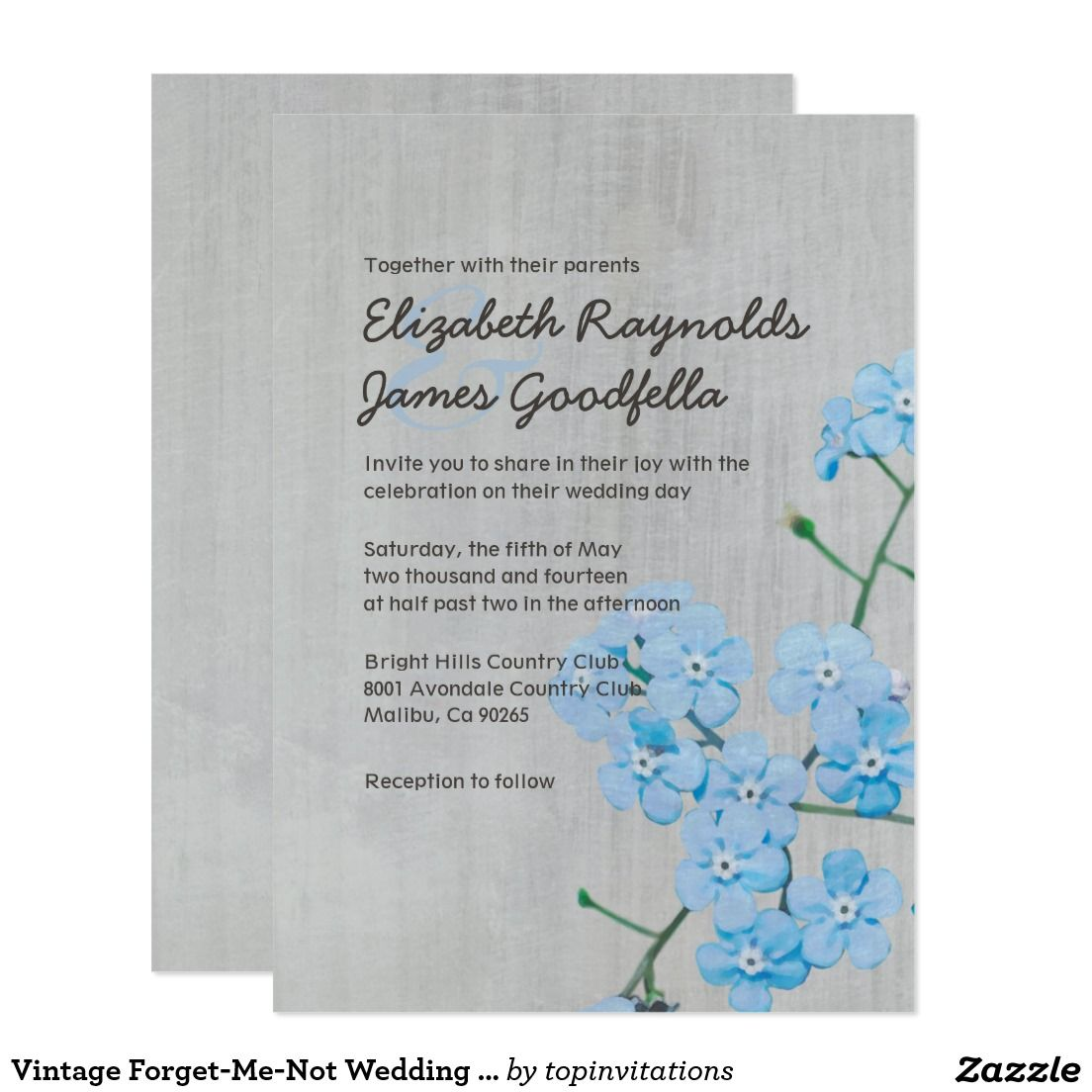 Vintage Forget-Me-Not Wedding Invitations | Country wedding ...