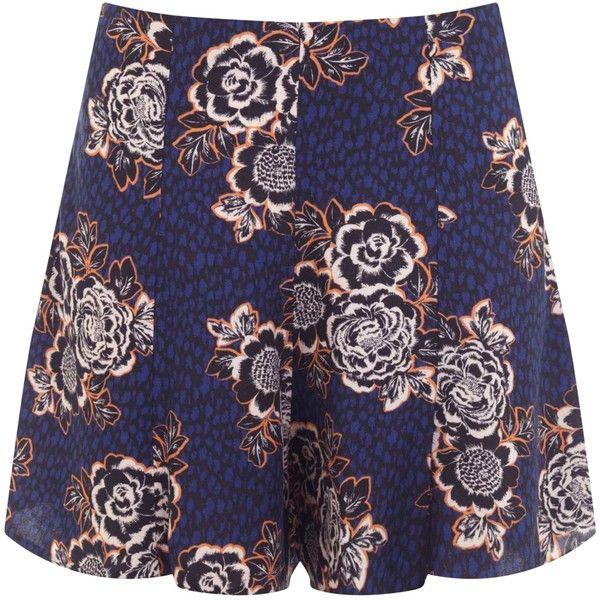 Miss Selfridge Petites Dark Floral Skorts ($27) ❤ liked on Polyvore featuring navy, petite, sale, golf skirts, miss selfridge and petite skorts