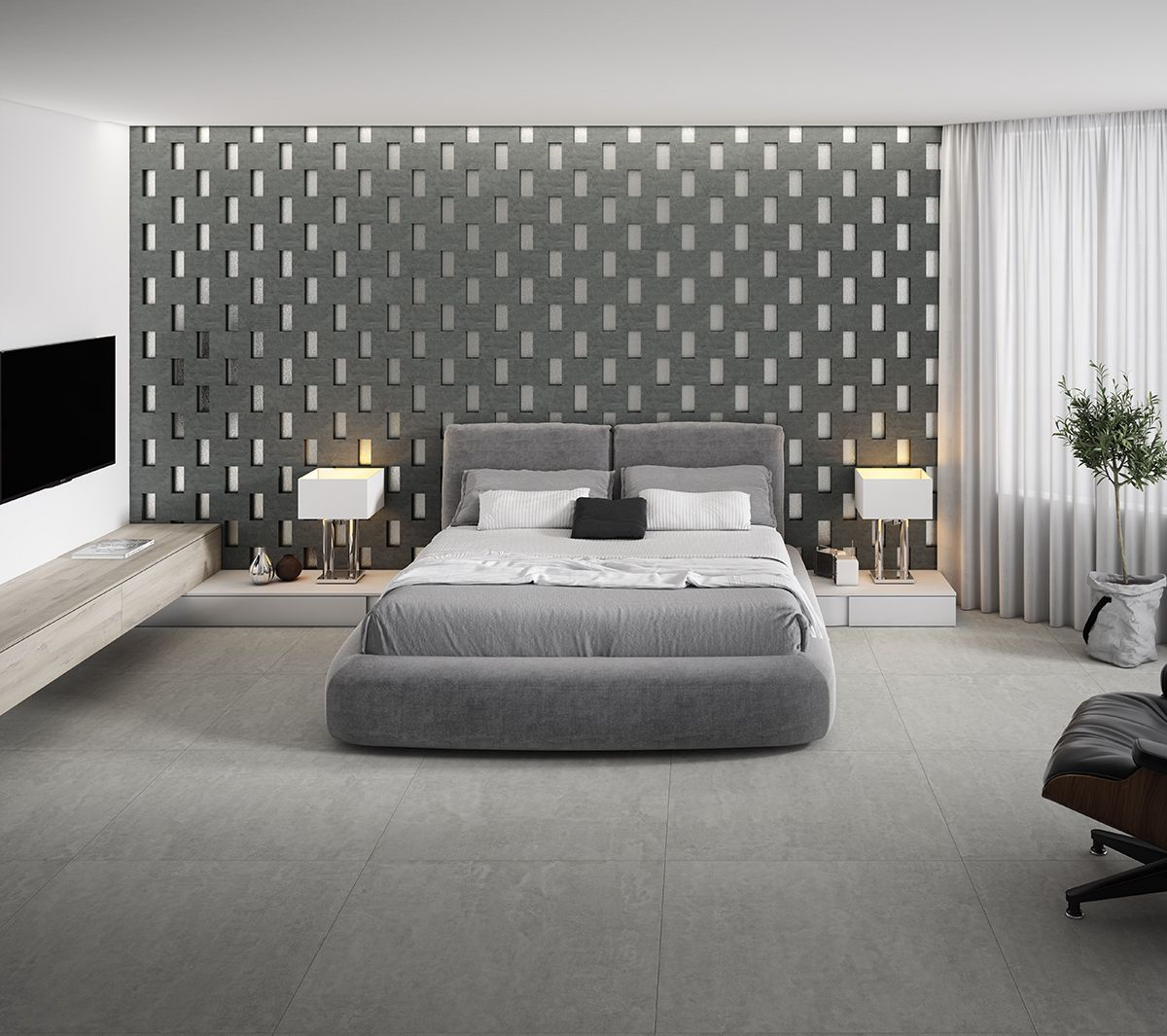 Tiles In The Bedroom These Grey Floor Tiles Give A Warmth Feel To This Bedroom Space Giving The Illusion Of A Cosy Grey Floor Tiles Grey Flooring Tile Bedroom