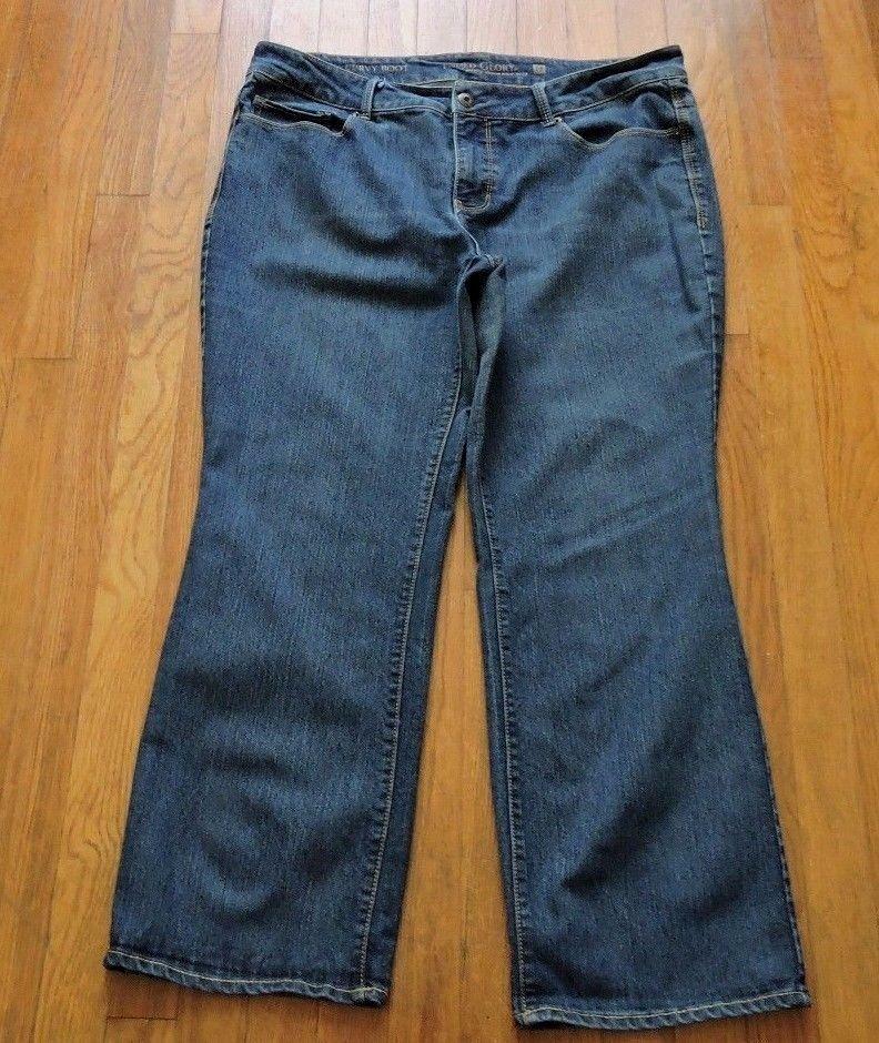 Faded Glory Women Curvy Boot Dark Blue Jeans Size 18 Petite #FadedGlory…