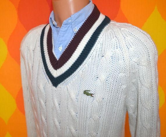 vintage 70s izod LACOSTE sweater v-neck tennis stripes white ...