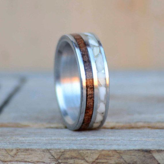 Mens Wedding Band Anium Metal Ring With Crushed Elk Ivory And Walnut Wood Channel Inlays Stag Hound Head Design