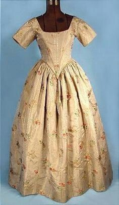 mid 1700's Gorgeous Brocade Fabric Ballgown possibly redesigned in 1840's with Additional Original Sleeves.