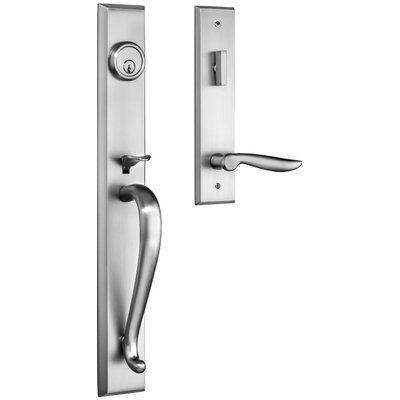 Rockwell Security Premium Carmel Handleset With Single Cylinder Deadbolt And Door Lever And Rosette Finish Brushed Nickel In 2020 Front Door Hardware Door Handle Sets Door Handles