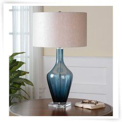 Uttermost Hagano 26191-1 Blue Glass Table Lamp