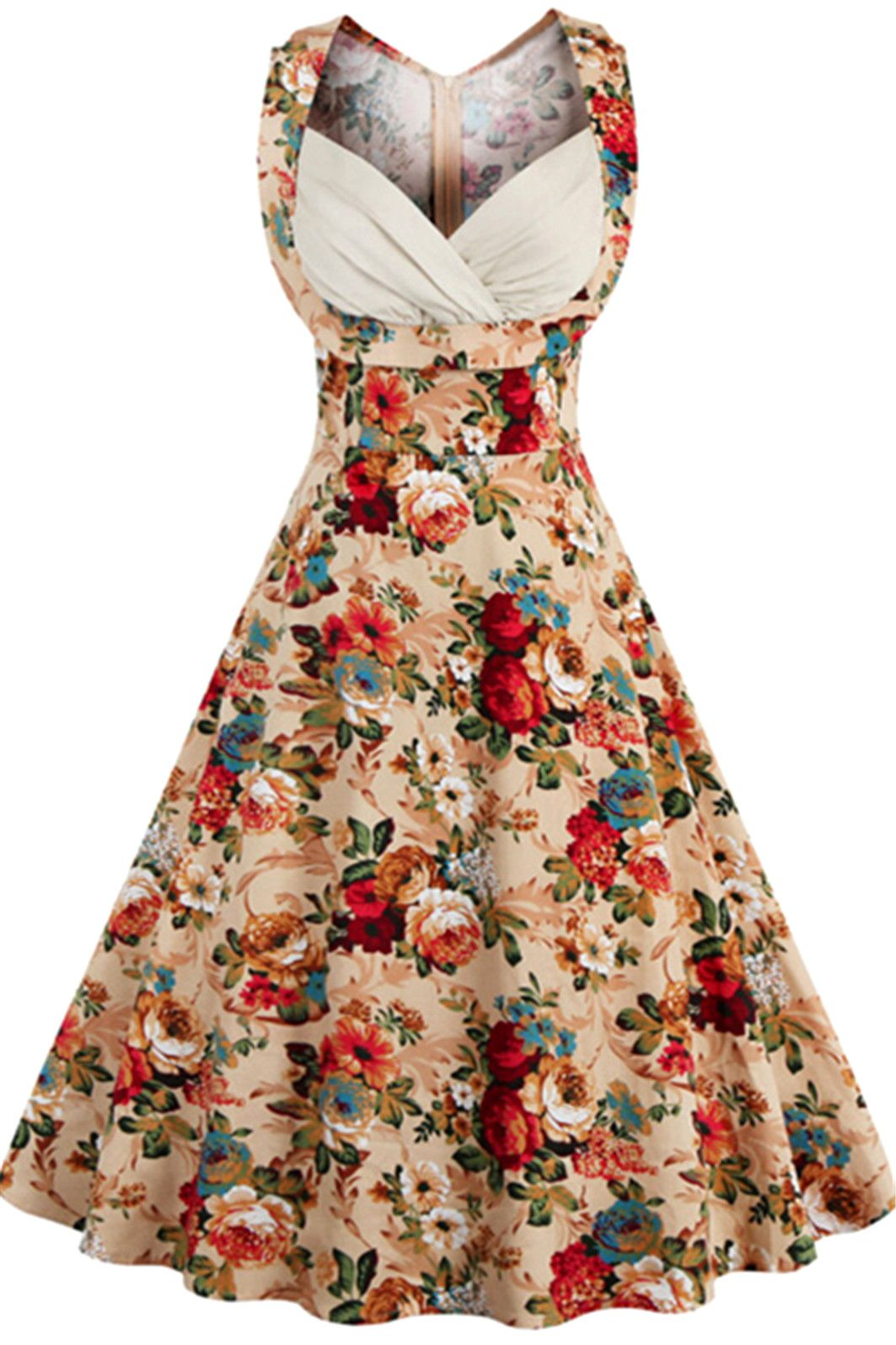 $22.00 Retro Style High-Waisted Floral Print Women\'s Dress | My ...