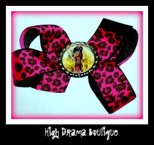 One of a kind hair bow. Black and hot pink leopard $5