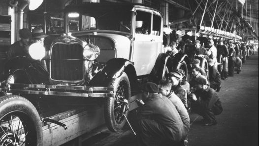 1928 Ford Model A On The Assembly Line At The Rouge Plant In