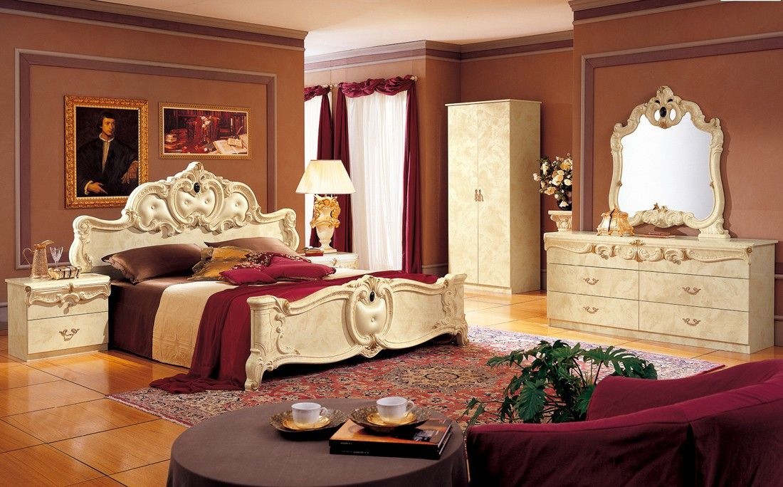 Barocco Ivory Clic Italian Bedroom Set