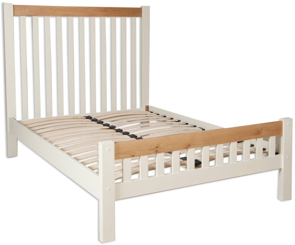Perth Bed Oak And Ivory Painted Bed Frame With Mattress Upholstered Bed Frame Bed Frame