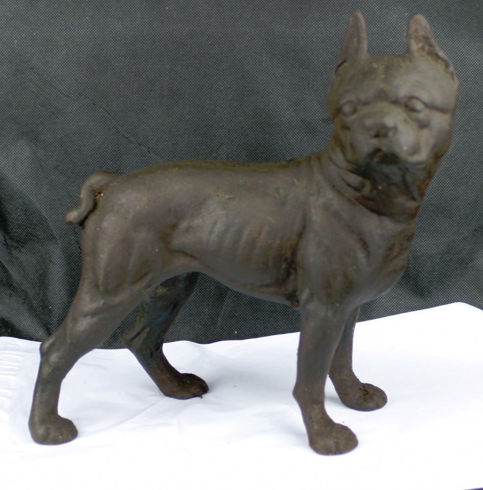 Vintage Antique Cast Iron Boxer Boston Terrier Bull Dog Door Stop